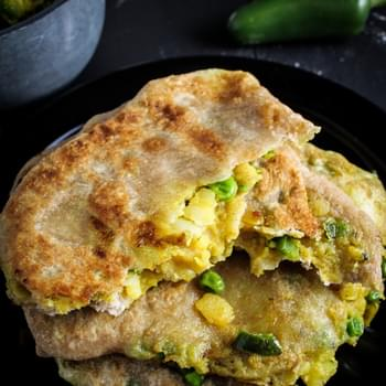Spiced Potato and Pea Parathas