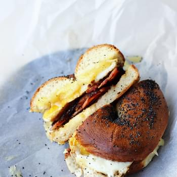 Bacon, Egg and Cheese Bagels {street food monday}
