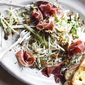 Celeriac, Apple And Walnut Salad With Prosciutto