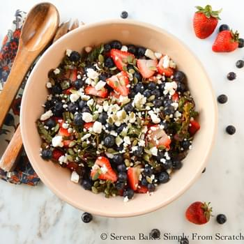 Kale Strawberry Blueberry Salad With Champagne Vinaigrette