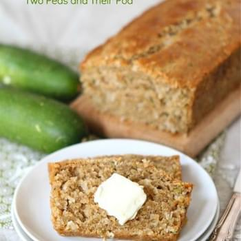 Zucchini Coconut bread made with coconut oil and coconut! You won't miss the butter, I promise!