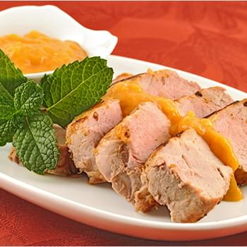 Grilled Pork with Bourbon-Peach Barbecue Sauce