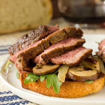 Theater Steak with Mushrooms, Onions & Grilled Bread