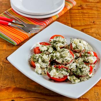 Summer Tomato Salad with Goat Cheese, Basil Vinaigrette, and Fresh Herbs