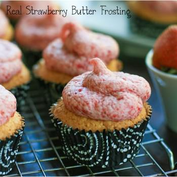 Yellow Cupcake with Real Strawberry Butter Frosting