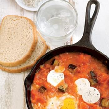 Shakshuka with Eggplant and Goat Cheese