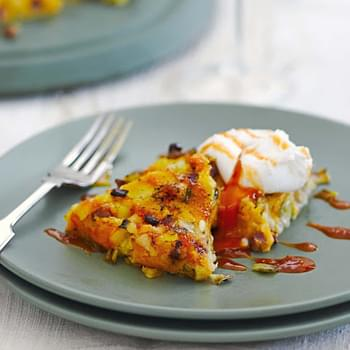 Squash And Pancetta Squeak With Poached Eggs