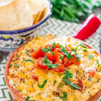 Spicy Cheesy Corn and Tomato Dip