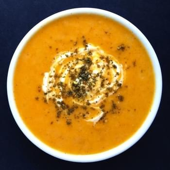 Creamy Roasted Root Vegetable Soup with Za'atar