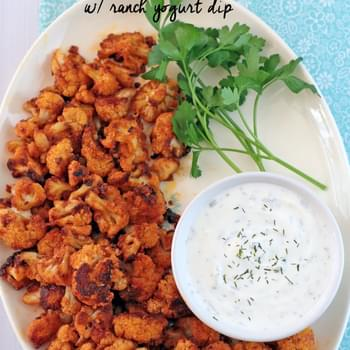 Buffalo Cauliflower with Ranch Yogurt Dip