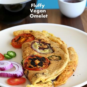 Chickpea flour Vegan Omelet with Onions and Tomato slices