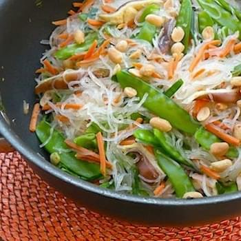 Gingery Asian Noodles with Snow Peas and Shiitake Mushrooms