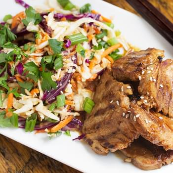 Spicy Grilled Korean Pork with Asian Slaw