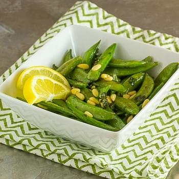 Sugar Snap Peas with Lemon, Mint & Pine Nuts