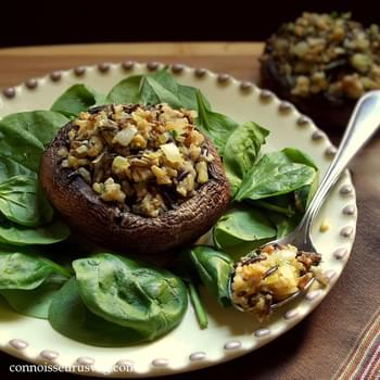 Happy Thanksgiving Walnut and Wild Rice Stuffed Portobellos