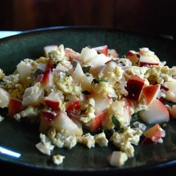 Scrambled Eggs with Apples, Sage and Swiss