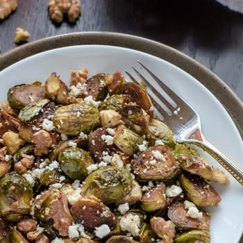 Maple Balsamic Brussels Sprouts with Walnuts and Feta