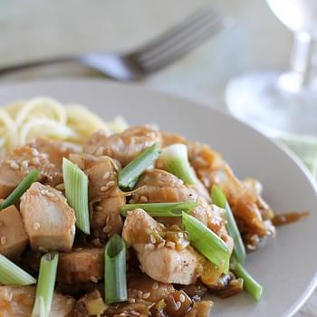 Stir Fry Chicken with Sesame and Leeks