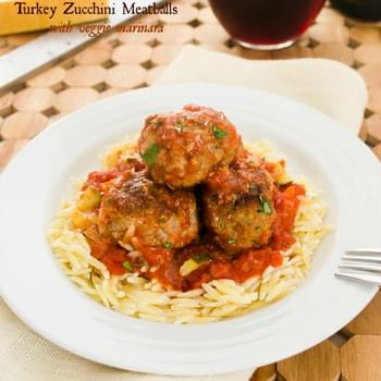 Turkey Zucchini Meatballs with Veggie Marinara {Slow Cooker}