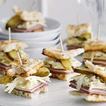 Mini Salt Beef, Swiss Cheese And Remoulade Stacks
