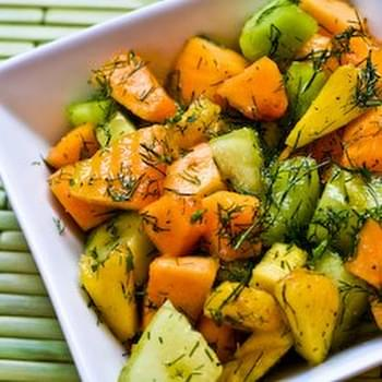 Fruit Salad with Cantaloupe, Honeydew, Pineapple, and Dill