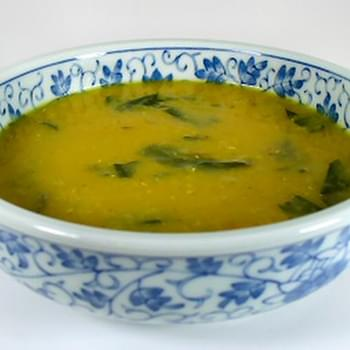Curried Red Lentil Soup with Dandelion Greens
