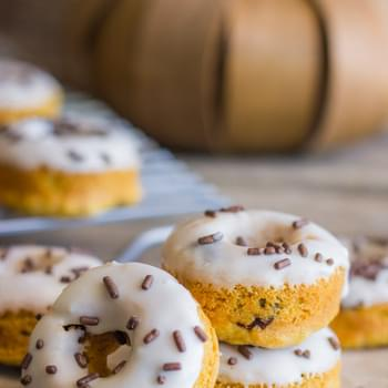 Mini Baked Pumpkin Chocolate Chip Donuts
