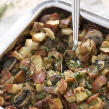 Pretzel Bread Stuffing with Bacon, Leeks and Mushrooms