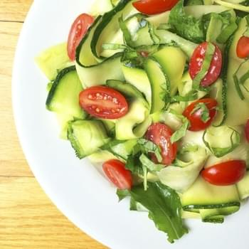 Zucchini Cucumber Ribbon Salad with Lemon Basil Vinaigrette