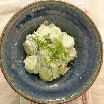 Cucumber Salad with Sour Cream and Dill