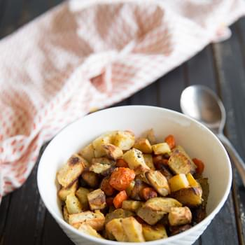 Roasted Sweet Potatoes, Apples and Carrots
