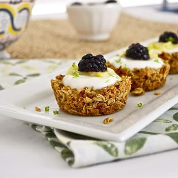 Granola Tart Shells with Greek Yogurt, Lime Curd, and Blackberries