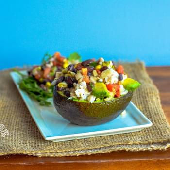 Tilapia Stuffed Avocado with Black Beans & Corn