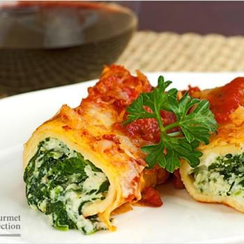 Spinach-Cheese Stuffed Crepes with Marinara