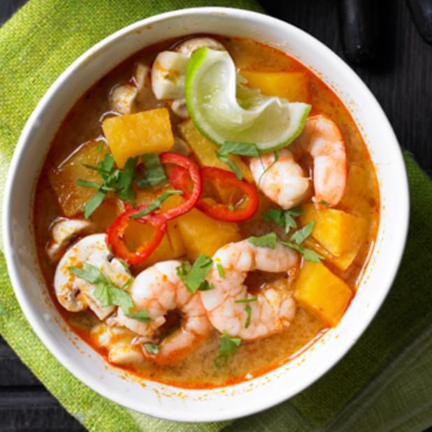 Sweet Potato And Prawn Tom Yum Soup