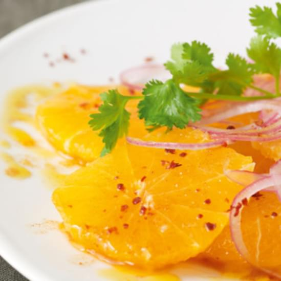 Orange Salad with Fresh Orange-Smoked Paprika Vinaigrette, Iced Onions and Cilantro