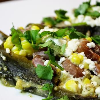 Corn And Bean Stuffed Poblano Chilies With Cilantro-tomatillo Sauce