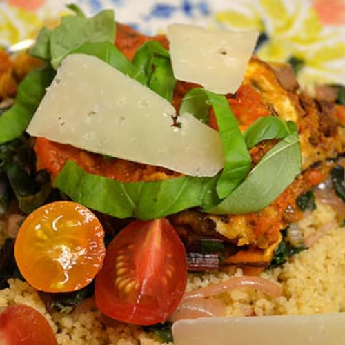 Eggplants Stacks With Couscous And Lemony Chard
