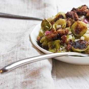 Roasted Brussels Sprout Salad with Maple Vinaigrette & Crunchy Breadcrumbs