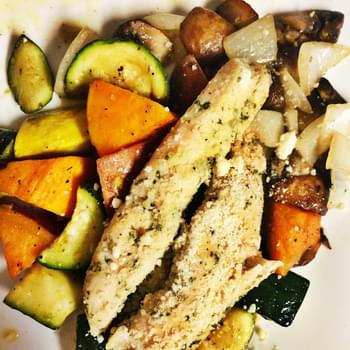 Pesto Chicken and Baked Vegetables