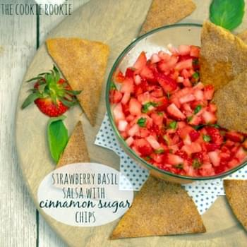 Strawberry Basil Salsa with Cinnamon Sugar Chips