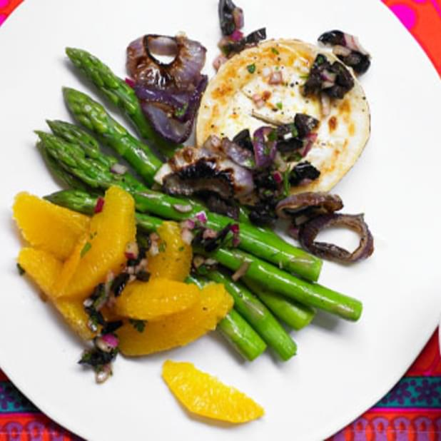 Asparagus And Grilled Red Onion Salad With Goat's Cheese