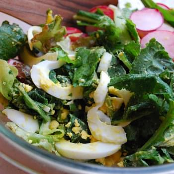 Bitter Greens with Radish and Egg