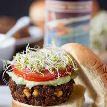 Chipotle Black Bean Freekeh Sliders with Avocado Lime Crema