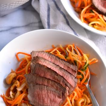 Steak Topped Carrot and Mango Salad with Chili Lime Dressing