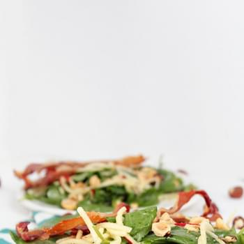 Apple Noddle and Prosciutto Baby Kale Salad with Roasted Hazelnuts