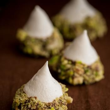 Meringue Acorns with Salted Pistachios and Chocolate