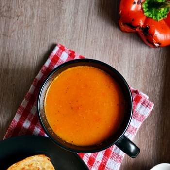 Roasted bell pepper soup recipe| Easy soup recipes| Healthy recipes