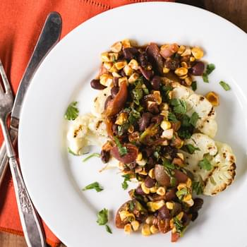 Grilled Cauliflower Steaks with Fresh Corn and Black Bean Salsa