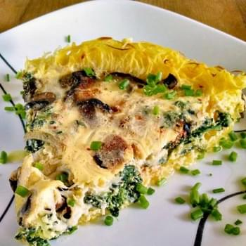 Spinach and Mushroom Quiche with Spaghetti Squash Crust